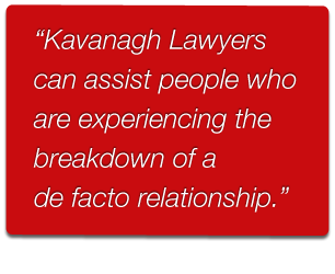 Kavanagh Lawyers providing legal advice on defacto relationships